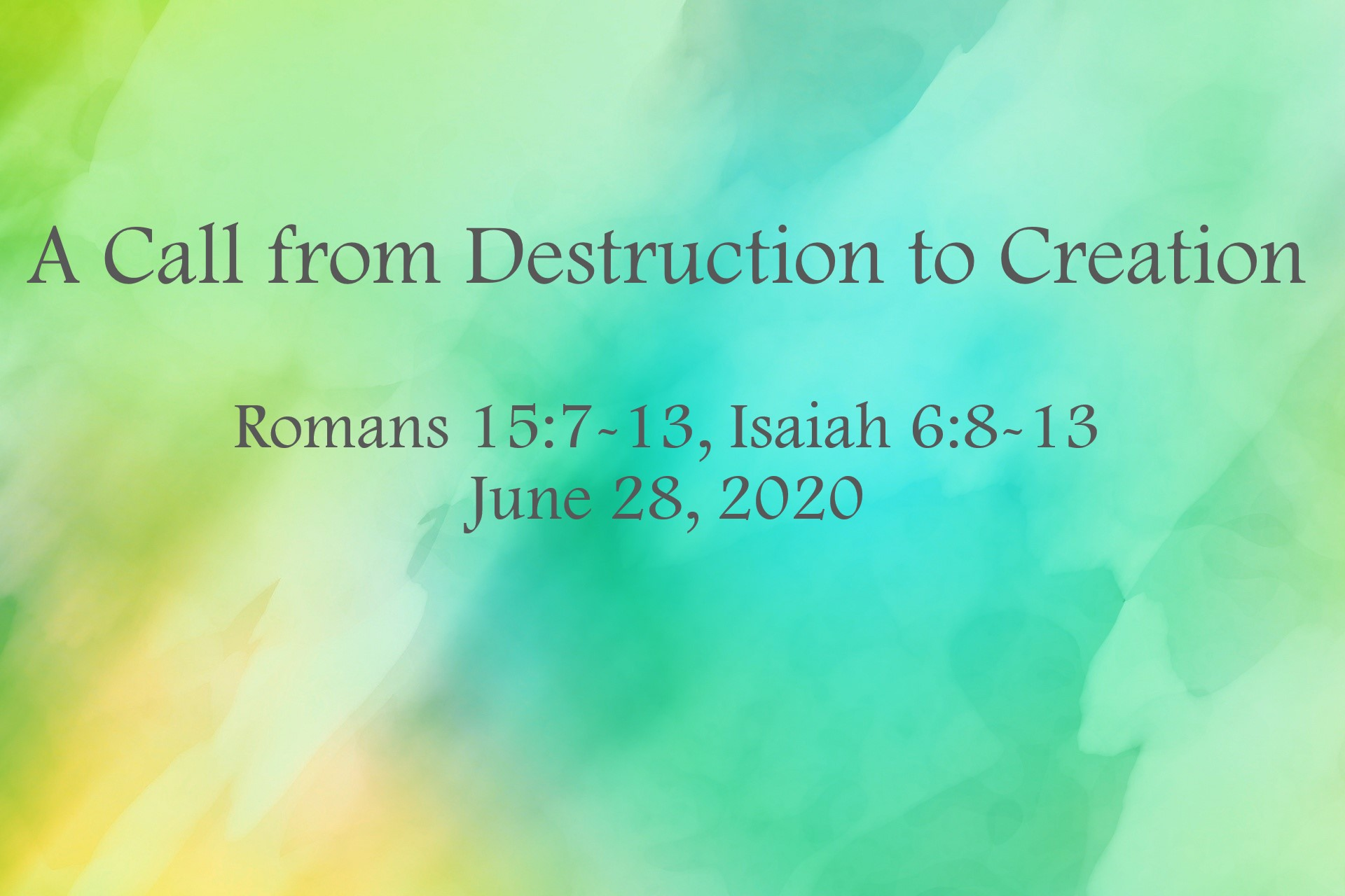 A Call from Destruction to Creation